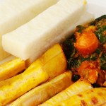 Yam and plantain with egg stew