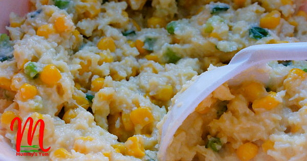 cheesy yam and corn fritters