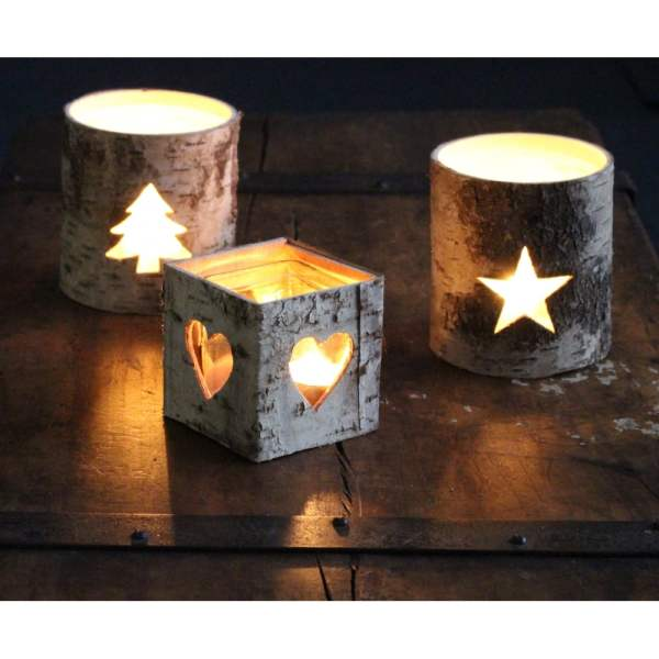 Silver Birch Christmas Tree Tea Light Holder