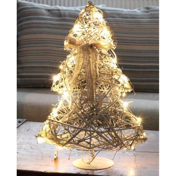 White Wicker LED Christmas Tree Decoration White Wicker LED Christmas Tree Decoration White Wicker LED Christmas Tree Decoration