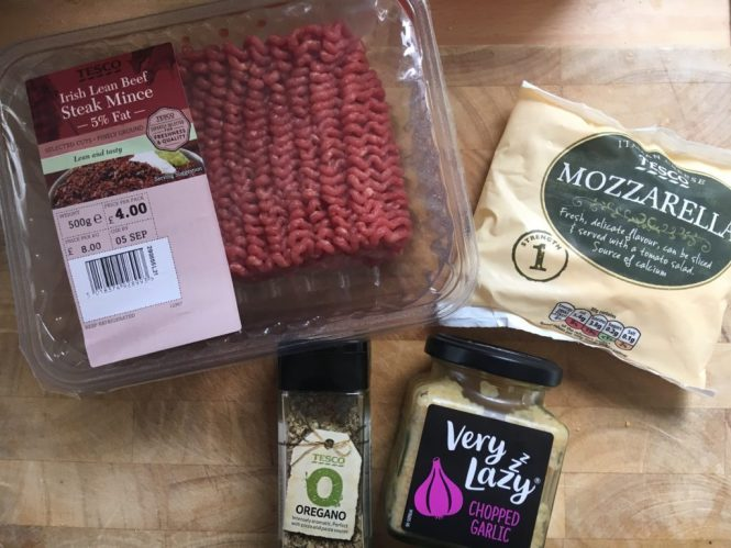 Ingredients for our Mozzarella meatballs and tagliatelle - perfect for the whole family
