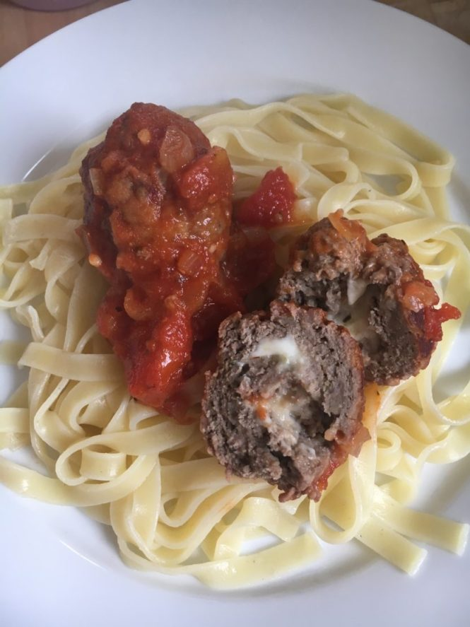 Mozzarella meatballs and tagliatelle