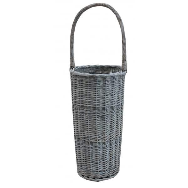 Grey Wash Wicker Round Umbrella Basket Stand