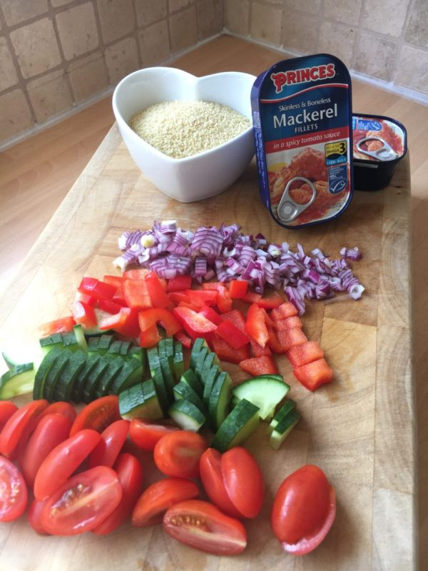 Spicy tomato mackerel and couscous salad with Princes