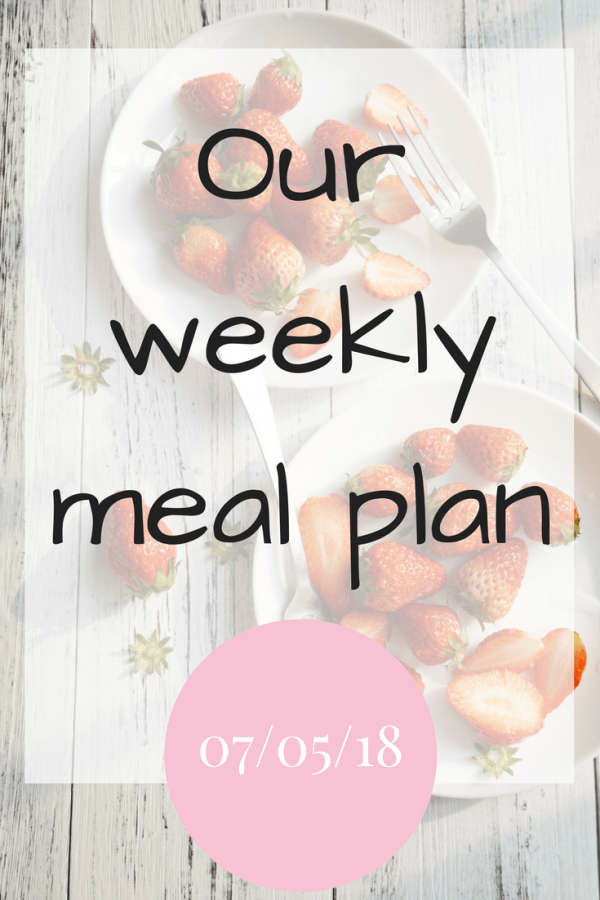 Our weekly meal plan 7th May 2018