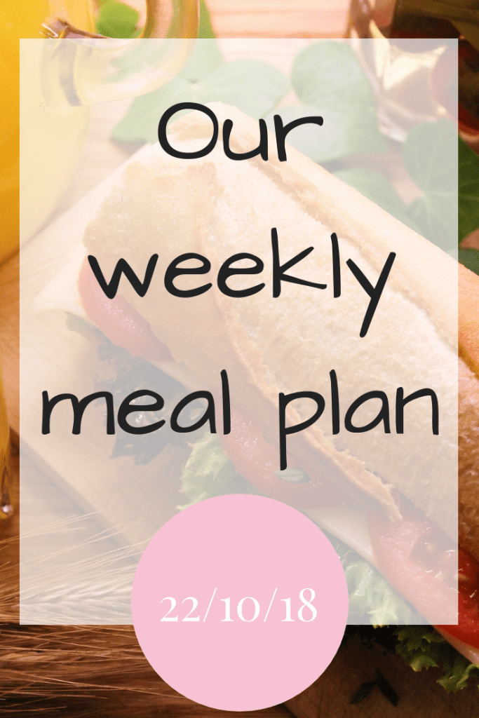 Our weekly meal plan 22nd October 2018