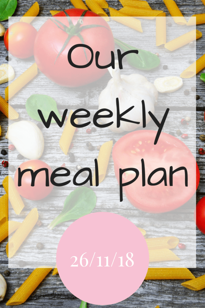 Our weekly meal plan 26/11/18