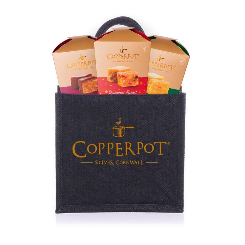 Luxury Festive fudge gift set with jute bag