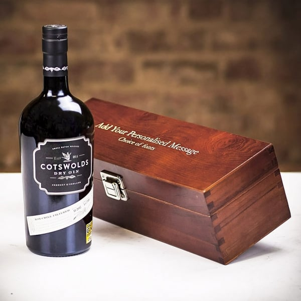 Cotswolds Dry Gin in Personalised Premium Wood Gift Box