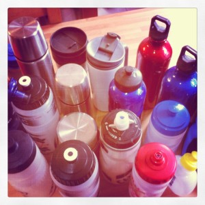 Collection of water bottles