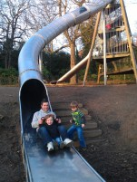 Hubby and boys on slide