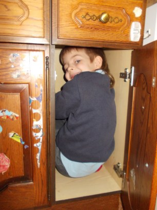 Wriggler can still fit in the play cupboard!