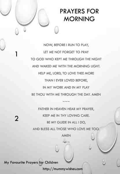 Children's prayer for Morning