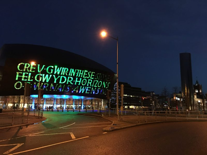 Wales Millenium Centre at night
