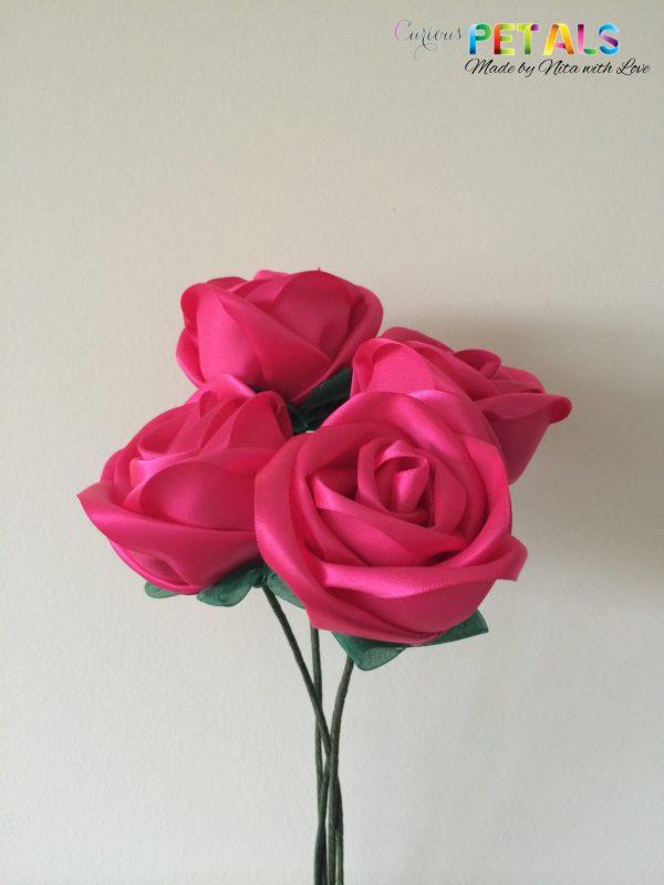 Shocking Pink Ribbon Rose, Handmade Satin Rose/Wedding Bouquet