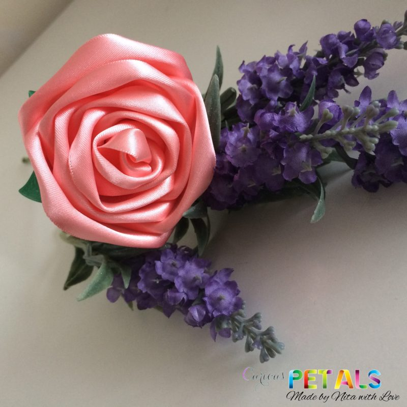 Delicate Peach Ribbon Rose, Handmade Satin Rose/Wedding Bouquet