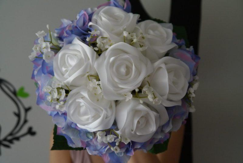White & Purple Satin Ribbon Rose Wedding Bouquet with Hydrangea, Handmade Satin
