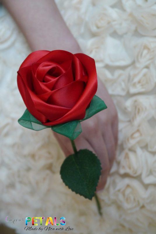 Luscious Red Ribbon Rose, Handmade Satin Rose/Wedding Bouquet