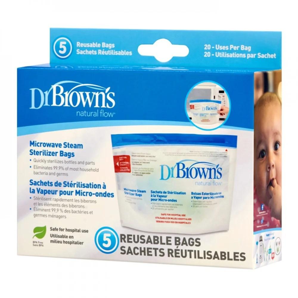 dr brown s microwave steam steriliser bag 5 pack