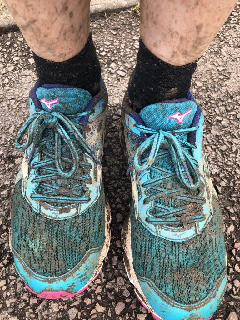Muddy trainers, Cheltenham Challenge half marathon, Half marathon