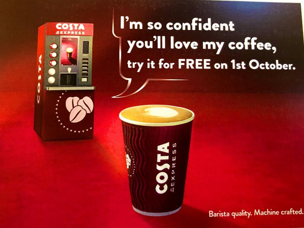 Free Costa Coffee on October 1st
