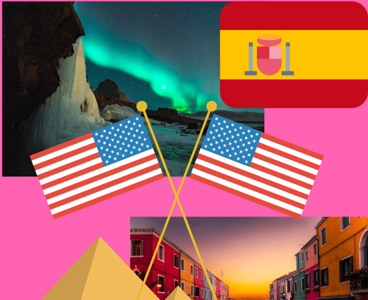 American flags, Spanish flag, Pyramids, Venice canal and Icelandic northern lights