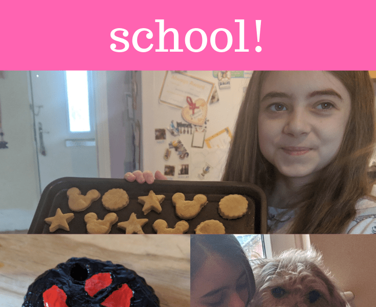 A girl holding a tray of homemade dog treats, a clay painted paw print and the same girl holding a dog