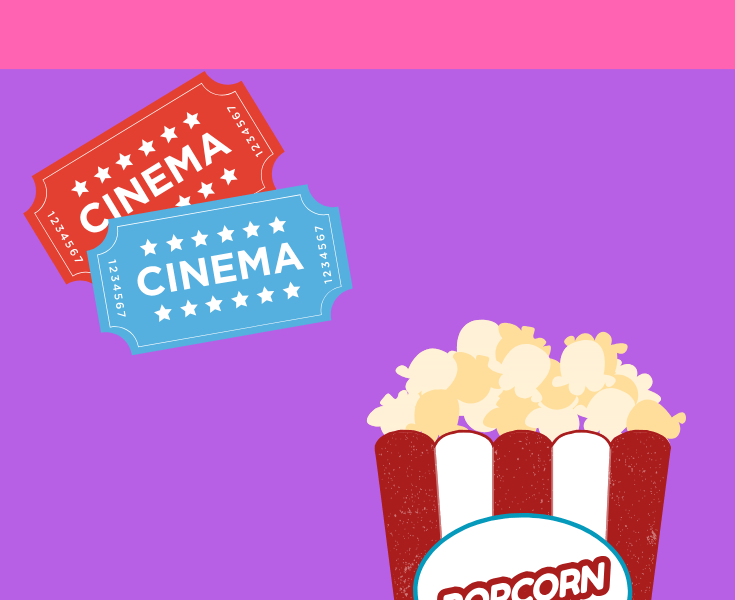 film tickets and popcorn
