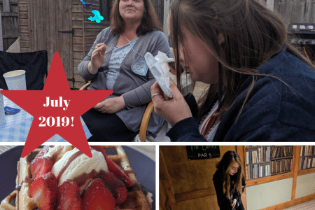 image 1 - two ladies at a baby shower playing a game where you need to smell a nappy smeared in chocolate to guess the chocolate but it looks like you are smelling baby poop! Image 2 a waffle with ice cream and strawberries on top drizzled in chocolate sauce. Image 3 - a young girl playing crazy golf in a corridor which has bookshelves painted on the wall in the background.