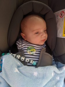 Keaton modelling his 'I've completed the maze' sticker!