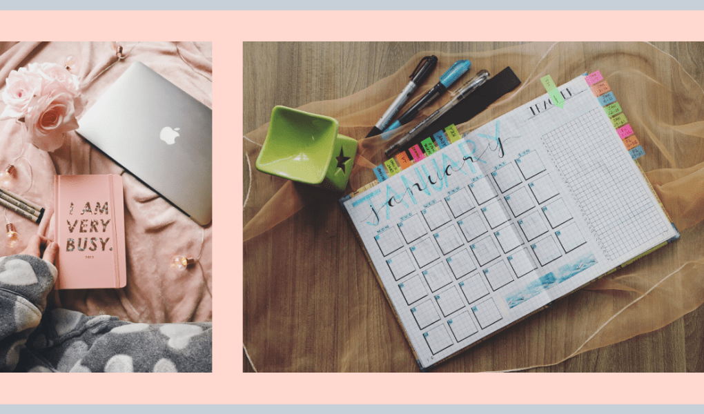 Planner with washi tape and pens, laptop and notebook ready to plan