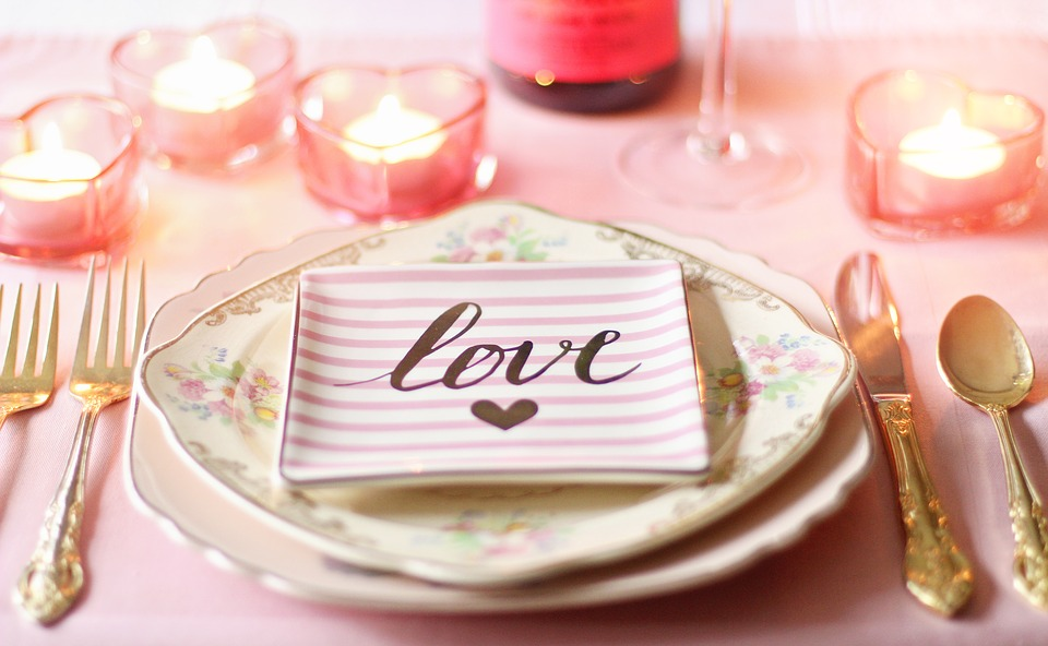 romantic table setting for an at home date night