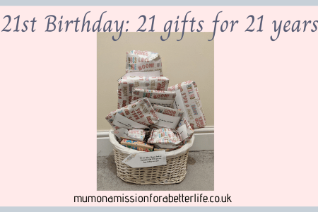 Birthday gifts in a gift basket