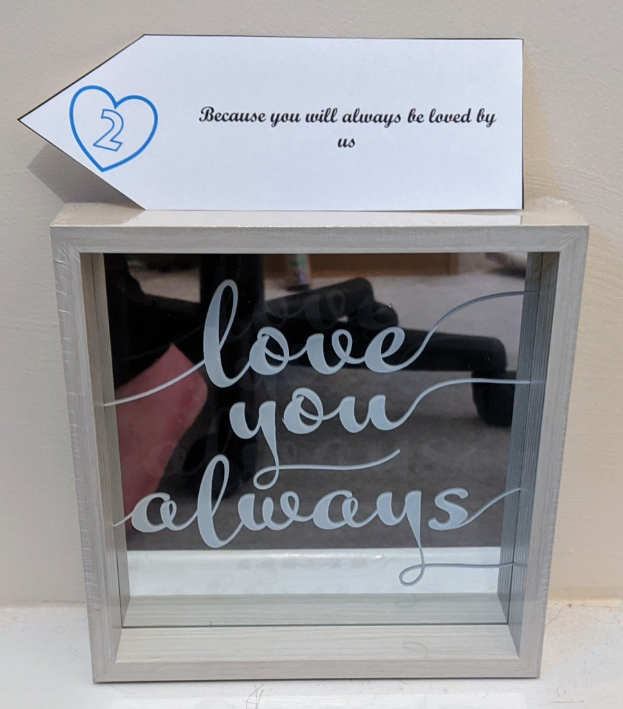 Mirrored plaque with the words 'love you always' and 21st birthday tag