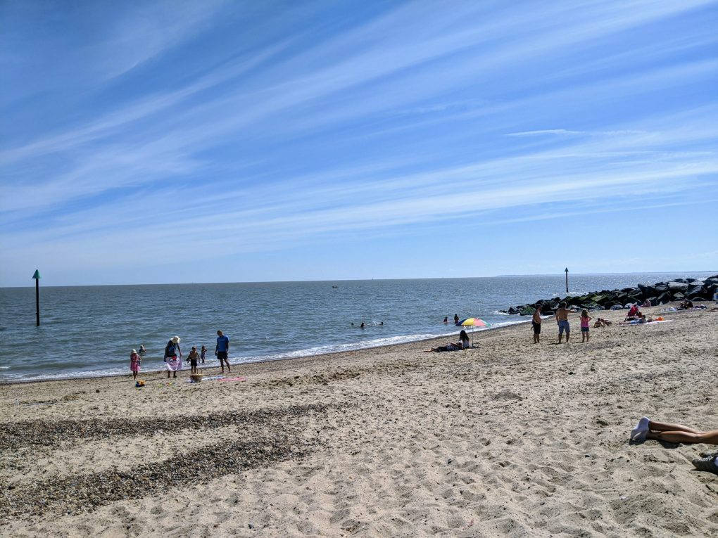 Beach showing social distancing rules being followed
