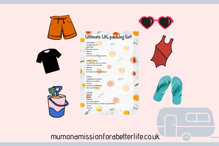 Packing list surrounded by items. Items are orange shorts, red t-shirt, bucket and spade, heart shape sunglasses, blue flipflops, red swimming costume, and lilac outline of a caravan