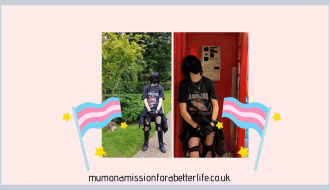 two pictures of my trans son. One of him standing in a Japanese garden in London and the other one of him standing in a red telephone box in M&M world, London