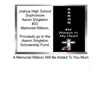 Aaron Singleton Memorial Ribbon for your Homecoming Mum