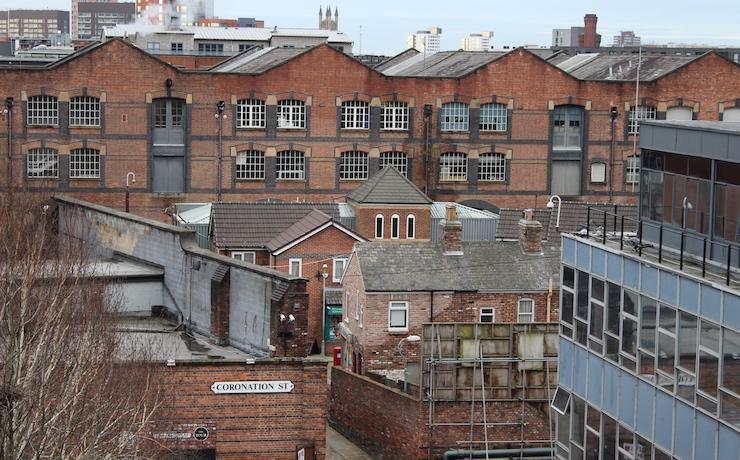 View of Coronation Street from Great John Street Hotel roof terrace