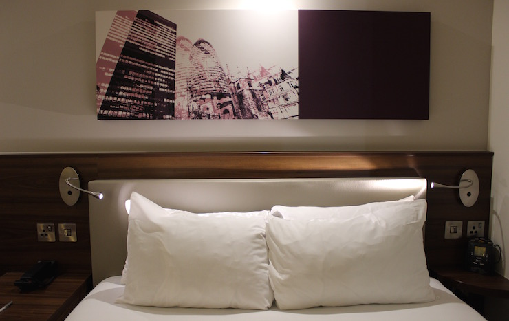 Hampton by Hilton London Gatwick bedroom. Copyright Gretta Schifano