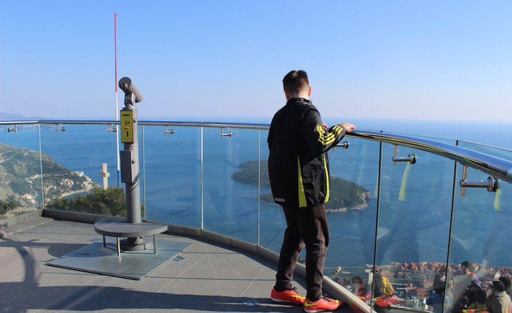 Viewing deck at cable car station above Dubrovnik. Copyright Gretta Schifano
