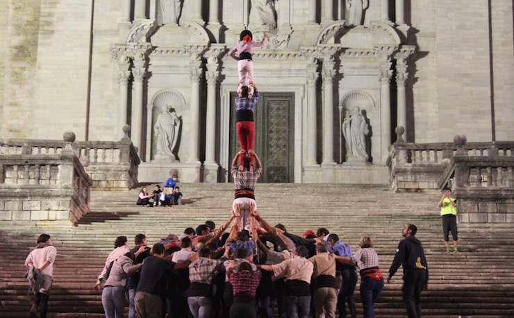 Marrecs de Salt human tower rehearsal 4, Girona. Copyright Sal Schifano