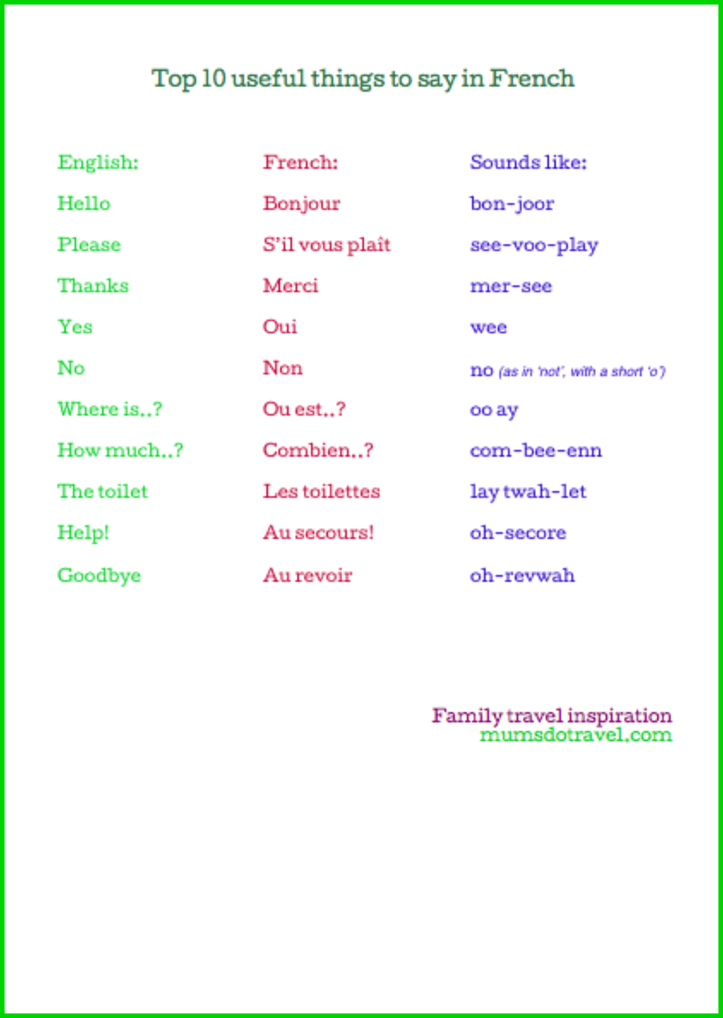 French Words Printable