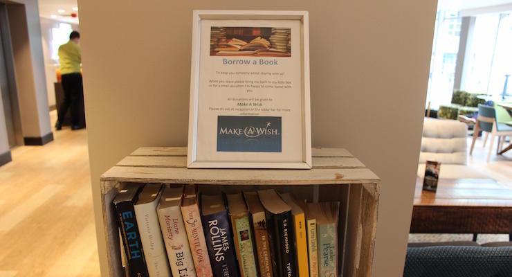 Books to borrow, Holiday Inn London Camden Lock. Copyright Gretta Schifano