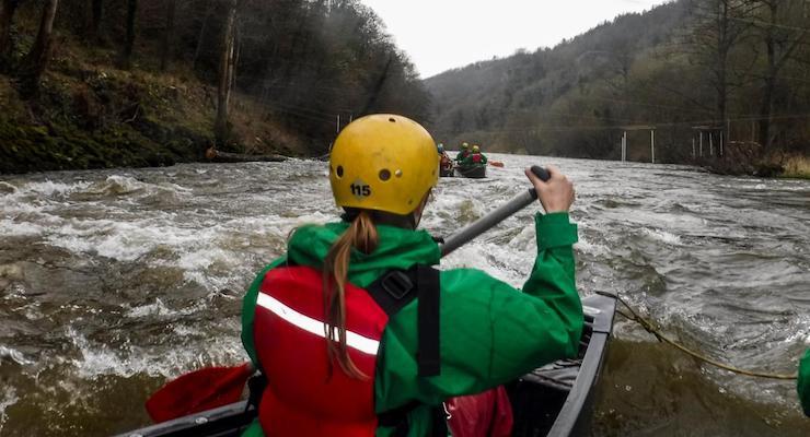 Gretta Schifano canoeing on the River Wye. Copyright David Broadbent