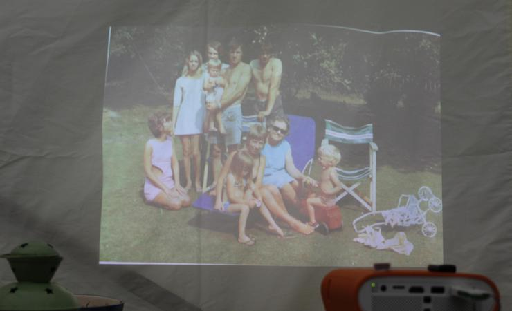 Using the BenQ GS1 projector. Copyright Gretta Schifano