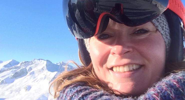 Nell at 3,000m above sea level, on top of the Presena Glacier. Copyright Nell Heshram