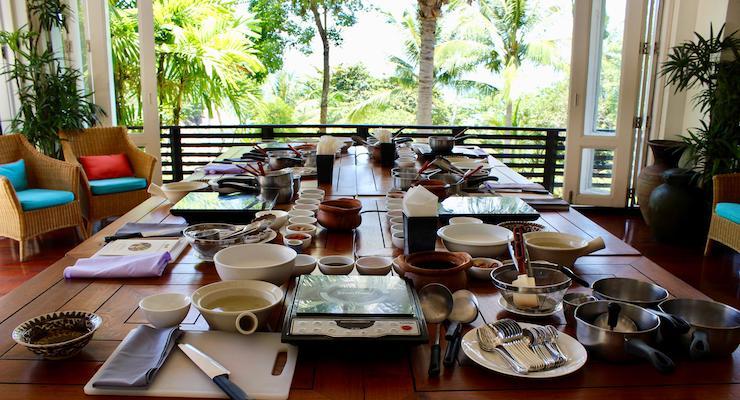Ready for the Thai cooking class, The Tongsai Bay. Copyright Gretta Schifano
