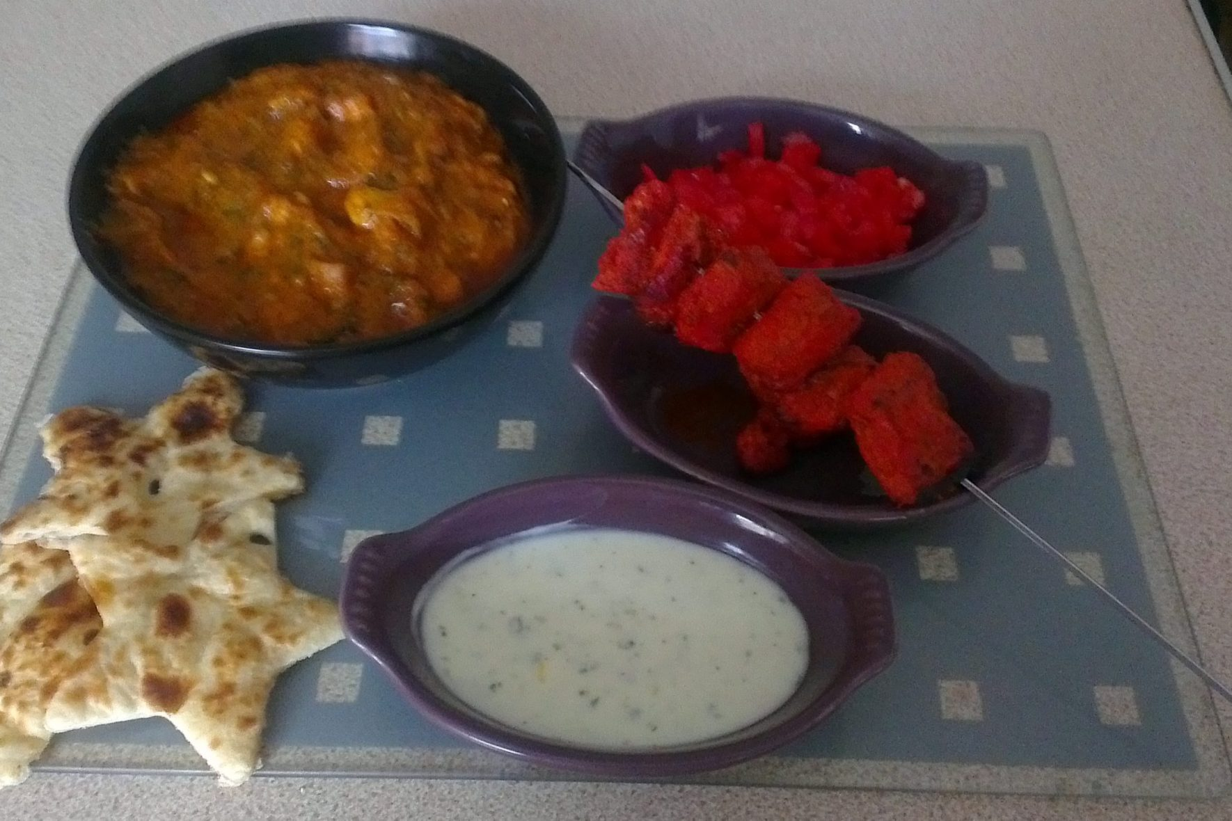 Indian Meal, Homemade indian, chicken tikka, chicken tikka kebabs, red onion chutney, yoghurt sauce, chicken curry, homemade chicken curry, Indian recipe, chicken curry recipe, indian chicken curry recipe