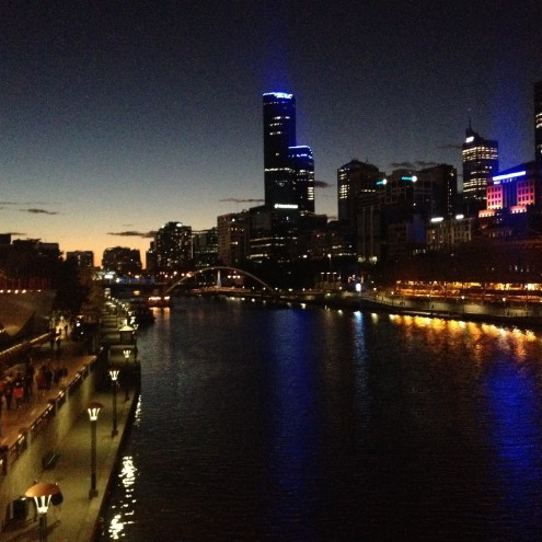 Crossing the Yarra River into the city.
